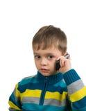 Nettes Kind mit Handy lizenzfreies stockbild