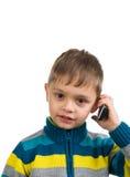 Nettes Kind mit Telefon stockbild