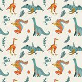 Nettes kindisches nahtloses Vektormuster mit Dinosaurier t-rex mit Eiern, Dekor Lustiger Karikaturdino-Pterodaktylus Hand gezeich stockfotos