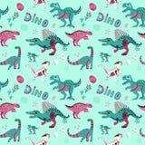 Nettes kindisches nahtloses Vektormuster mit dinosaurswith Eiern, Dekor und Wörtern Dino Lustige Karikatur Dino Hand gezeichnetes stock abbildung