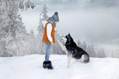 Nettes kleines blondes Mädchen, das im Schnee mit einem Hundschlittenhund spielt stockfoto