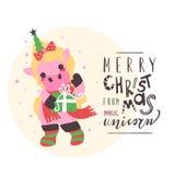 Nettes kleines Einhornbaby mit grünem Horn mit Stern, Stiefeln und Schal mit Geschenkbox Stockbilder