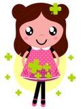Nettes kleines Frühling Mädchen mit vier Stockbild