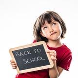 Nettes kleines Kind, zum sich ungefähr kühles zurück zu Schule vorzustellen Lizenzfreie Stockfotografie