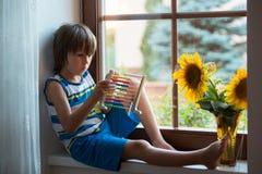 Nettes kleines Kleinkindkind, spielend mit Abakus auf einem Fenster Stockfotos