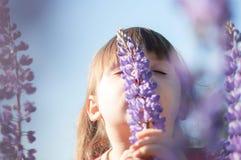 Nettes kleines Mädchen auf dem Lupineblumengebiet Lizenzfreie Stockfotos