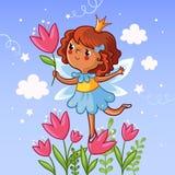 Nettes kleines Mädchen auf einer Blume lizenzfreie abbildung