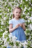 Nettes kleines Mädchen in blühendem Apfelbaumgarten am Frühling Stockbild