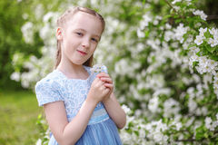 Nettes kleines Mädchen in blühendem Apfelbaumgarten am Frühling Stockfoto