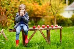 Nettes kleines Mädchen, das auf einer Holzbank sitzt Stockfoto
