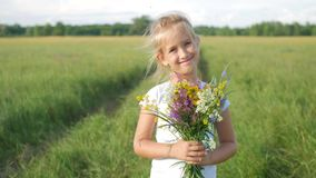 Nettes kleines Mädchen, das in eine Wiese in den Farben von Blumen läuft Sorglose Kindheit - kleines Kindermädchenspiel auf Somme stock video