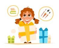 Nettes kleines Mädchen des glücklichen Lächelns und große Geschenkbox lizenzfreie abbildung