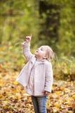 Nettes kleines Mädchen im rosa Mantel im Herbstwald Stockfotografie