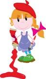 Nettes kleines Mädchen mit Farbe Stockfotos