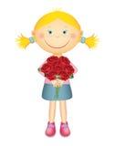 Nettes kleines Mädchen mit Rosen vektor abbildung