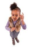 Nettes kleines schwarzes Mädchen verärgert stockbilder