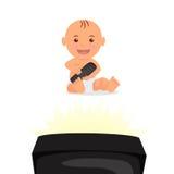 Nettes Kleinkind, das sitzt und fernsieht Lokalisiertes Charakterbaby mit Fernbedienung in der Hand Stockbilder