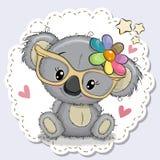 Nettes Koalamädchen in den gelben Brillen lizenzfreie abbildung