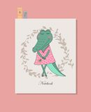 Nettes Krokodilmädchen im Kleid Stockbilder