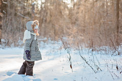 Nettes lächelndes Kindermädchen, das in schneebedeckten Wald des Winters geht Lizenzfreie Stockfotos