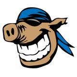 Nettes lächelndes Schwein mit Sonnenbrille und Bandanna-Karikatur-Vektor-Illustration Lizenzfreie Stockfotografie