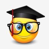 Nettes lächelndes tragendes Mörserbrett und -brillen des Emoticon, emoji, smiley - vector Illustration lizenzfreie abbildung