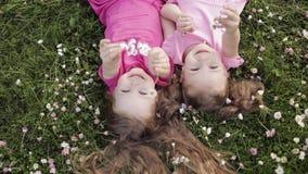 Nettes Lügen des kleinen Mädchens zwei umgedreht auf dem Wiesengras und -blumen, die Luftkuss- und -c$wellenartig bewegenhand her stock video