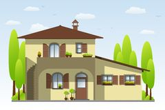 Nettes Landhaus stock abbildung