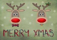Nettes lustiges Ren auf grünem Weinlesehintergrund mit frohen Weihnachten des Textes Stockfotografie