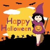 Nettes Mädchen als Hexe auf Grab und Nachthintergrund vector Karikatur, Halloween-Postkarte, Tapete und Grußkarte Lizenzfreie Stockfotos