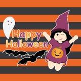 Nettes Mädchen als Hexe, Schläger- und Geistkarikatur, Halloween-Postkarte, Tapete und Grußkarte Stockbilder