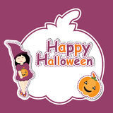 Nettes Mädchen als Hexe und Kürbis auf Kürbis gestalten Vektorkarikatur, Halloween-Postkarte, Tapete und Grußkarte Lizenzfreies Stockbild