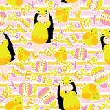 Nettes Mädchen, buntes Ei und nettes Küken auf gestreifter Hintergrundvektorkarikatur für Ostern-Tapete, Schrottpapier und Postka Lizenzfreie Stockfotos
