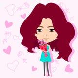 Nettes Mädchen, das Blumenblumenstrauß im Romanze backgr hält Stockfoto