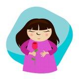 Nettes Mädchen, das eine Blume anhält Lizenzfreie Stockbilder