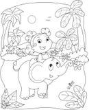 Nettes Mädchen, das einen Elefanten reitet Stockfoto