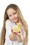 Nettes Mädchen, das kleines gelbes Küken anhält lizenzfreies stockbild