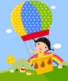 Nettes Mädchen, das mit einem Heißluft-Ballon spielt vektor abbildung
