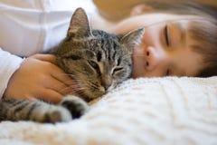 Nettes Mädchen, das mit Katze Nickerchen macht Stockfotos