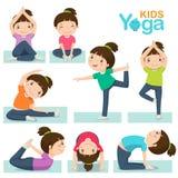 Nettes Mädchen, das Yoga auf einem weißen Hintergrund tut stock abbildung