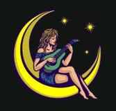 Nettes Mädchen der Mondscheinserenade, das Wiegenlied auf der Gitarre sitzt auf der Mondvektorillustration spielt Stockfotos