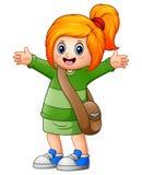 Nettes Mädchen des blonden Haares gehen zur Schule stock abbildung