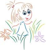 Nettes Mädchen in einem Garten lizenzfreie abbildung