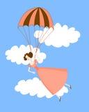 Nettes Mädchen in einem rosa Kleiderfliegen auf einem Fallschirm Blauer Himmel stock abbildung