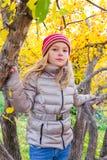 Nettes Mädchen im Herbst sitzen auf Baum Lizenzfreie Stockfotografie
