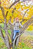 Nettes Mädchen im Herbst sitzen auf Baum Stockfotografie