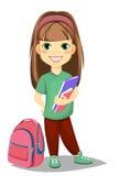 Nettes Mädchen mit Büchern in der zufälligen Kleidung steht nahe Schultasche Lizenzfreies Stockbild
