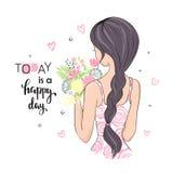 Nettes Mädchen mit Blumen Heutiger Tag ist ein glücklicher Tag Vektorillustration für T-Shirt und anderes Gebrauch Lizenzfreies Stockfoto