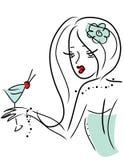 Nettes Mädchen mit einem Getränk stock abbildung