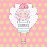 Nettes Mädchen mit Flügeln und mit Katze auf ihrem Kopf Vector Illustrationsliebeskarte mit Engel und Katze Lizenzfreie Stockbilder